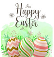 easter greeting card with decorative eggs vector image vector image