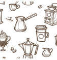 equipment for coffee preparation sepia sketches vector image vector image