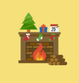 fireplace and christmas tree present box calenda vector image vector image