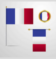 france waving flag design with badge vector image