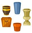 garden pots set various color flowerpots vector image