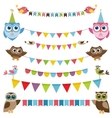 Garland and bunting set with birds