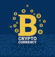 golden bitcoin on circuit blue background crypto vector image vector image