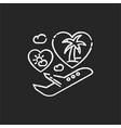 honeymoon chalk white icon on black background vector image