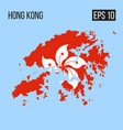 hong kong map border with flag eps10 vector image