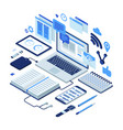 isometric working process vector image