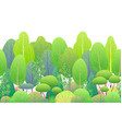 line horizontal seamless border with green trees vector image