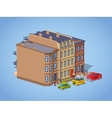 Low poly brownstone town house vector image vector image