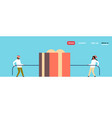 man woman pulling opposite ends rope gift box vector image