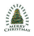 merry christmas with colorful tree vector image vector image
