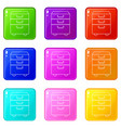 office closet icons set 9 color collection vector image vector image