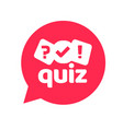 quiz logo icon symbol flat cartoon red vector image vector image