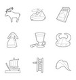 rural life icons set outline style vector image vector image