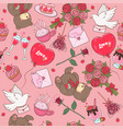 seamless pattern with romantic items vector image vector image