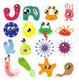 set cartoon bacteria fun characters cute vector image vector image