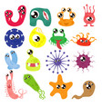 set of cartoon bacteria fun characters cute vector image vector image