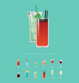 set of cocktails with menu great choice of alcohol vector image vector image