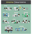 set of hospital departments vector image