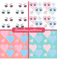set of patterns beautiful eyes and hearts vector image