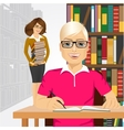 student styding in the college library vector image vector image