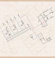 technical engineering drawing blueprints with vector image vector image