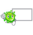 thumbs up with board character microbe bacterium vector image