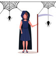 woman wearing grim reaper costume holding scythe vector image