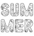 word summer painted coloring vector image vector image