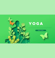 yoga template papercut woman in lotus pose vector image