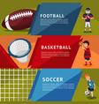 colorful team sports horizontal banners vector image