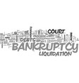 a closer look at bankruptcy text word cloud vector image vector image