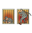 a prisoner escapes from prison jailbreak vector image vector image