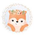 adorable fox in watercolor