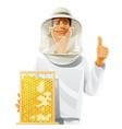 beekeeper with bee hive vector image vector image