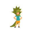 boy in green dinosaur costume cute kid dressed vector image vector image