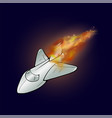 burning plane with fire flame vector image