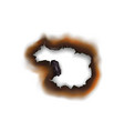 burnt hole in paper sheet isolated damaged surface vector image vector image