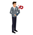 businessman with bullhorn 3d vector image vector image