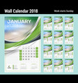 calendar template for 2018 year set 12 months vector image