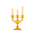candelabrum with three candles vintage golden vector image