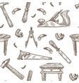 carpentry tools pattern background vector image