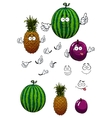 Cartoon watermelon pineapple and plum fruits vector image