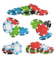 casino chips stacks 3d realistic colored vector image vector image
