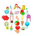 child welfare icons set cartoon style vector image vector image