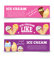 colorful ice cream banners template set vector image vector image