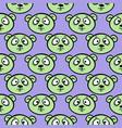 cute bear headseamless pattern on purple vector image vector image