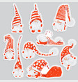 cute funny christmas sticker characters - white vector image