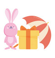 cute rabbit with gift box and umbrella autumn vector image
