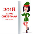 elf woman standing showing on placard with vector image vector image