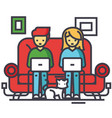 family working at home freelancers chating with vector image